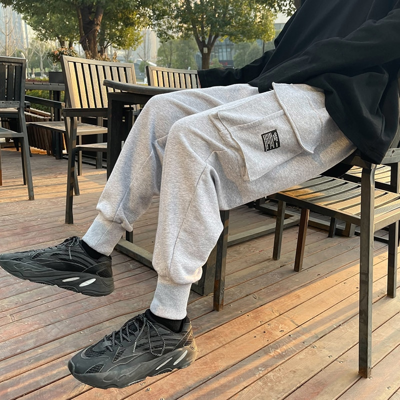2021 New Men's Sweatpants Cargo Pockets Tapered Fit Joggers Pants Man Baggy Hiphop Casual Clothing High Quality Big Size Bottoms