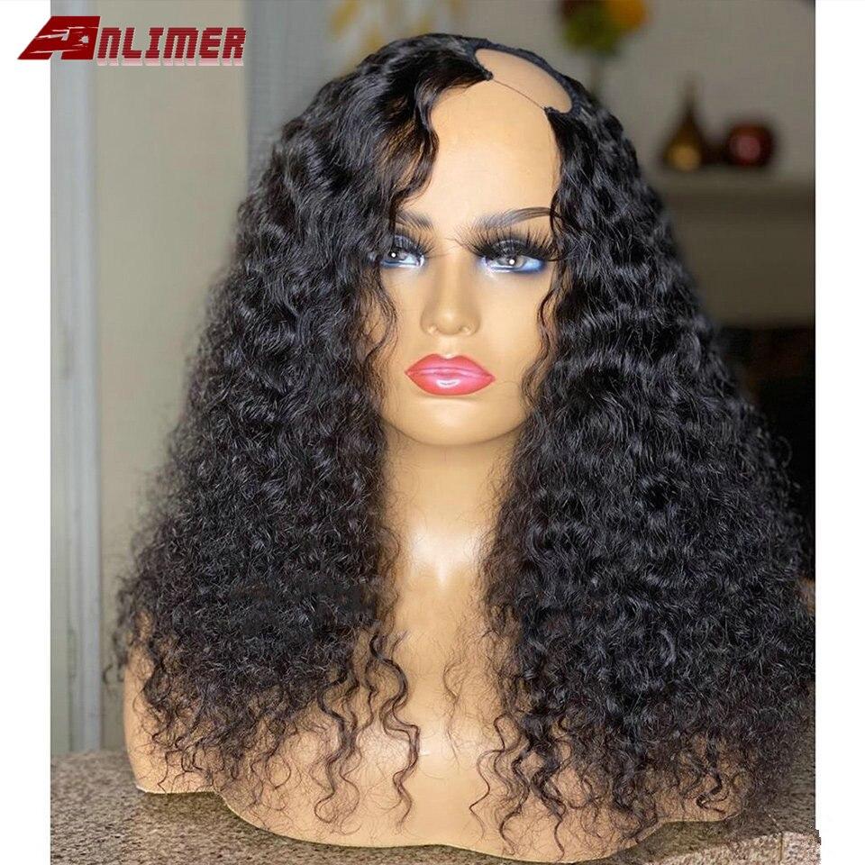 شعر مستعار هندي طبيعي ، شعر ريمي ، مجعد ، بدون غراء ، 2 × 4 بوصة ، 150% ، للنساء
