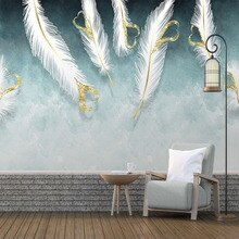 Papel pintado Mural personalizado de cualquier tamaño moderno pintado a mano plumas en forma de corazón blanco Fresco sala de estar TV sofá pared del dormitorio papeles