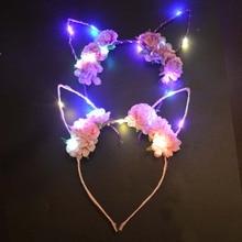 Noël lueur lumière bandeau Rose fleurs lapin oreilles filles lapin mariage bandeau serre-tête femme cadeau décor led fête anniversaire