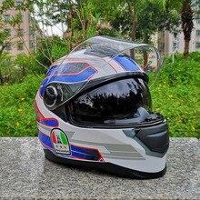 MALUSHEN Motorcycle Helmet motorcross equipment protect Cat Helmet Personality Full Face Double lens Motor Helmet
