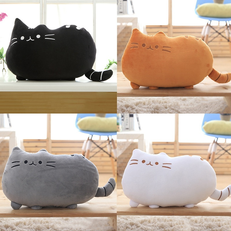 25cm free shipping kawaii cat plush pillow with zipper pp cotton biscuit shape plush animal doll toy children s christmas gift Baby Toys Cartton Biscuit Cat Pillow With PP Cotton Inside Kids Toys Doll Plush Big Cushion Cover Peluche Gift for Children