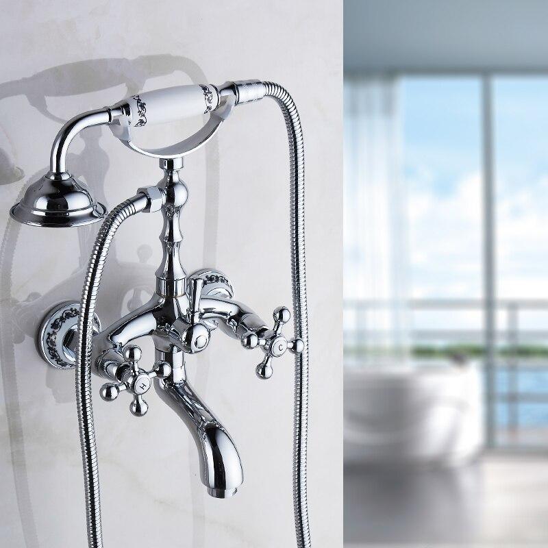 صنبور حمام من الكروم المصقول ztf930 ، حوض استحمام مثبت على الحائط مع دش يدوي ، صنبور حمام