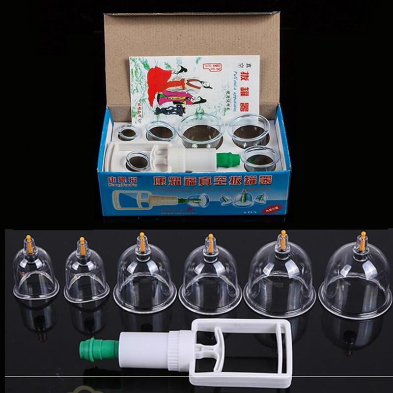 6 Pcs Vácuo Cupping Conjunto Médica Chinesa Cupping Cups latas De Vácuo Ventosa Terapia de desintoxicação do Corpo de Volta Massageador Anti Celulite