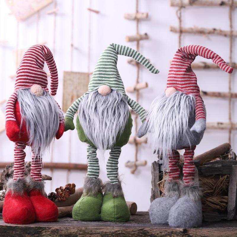 Muñeca de Gnomo de punto a rayas con patas telescópicas MESA DE elfo de invierno nórdico adornos de vacaciones estatua de Santa sueco regalo de decoración del hogar