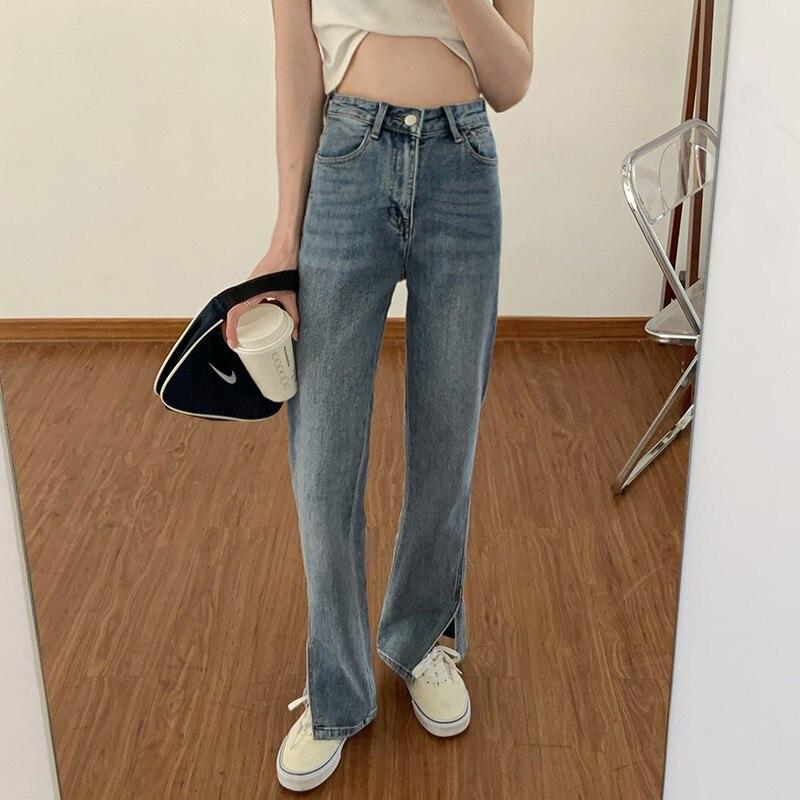 Split High Waist Jeans Women's Summer 2021 New Style Slim Straight Loose Floor Wide Leg Pants Spring