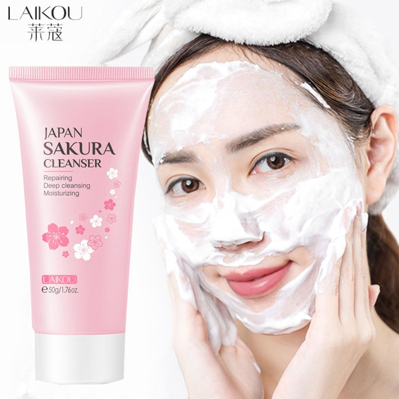 LAlKOU Facial Cleanser Foam Face Wash Remove Blackhead Moisturizing Shrink Pores Deep Cleaning Oil Control Whitening Skin Care new yi xiangyuan essential oil of lavender moisturizing and lubricating five parts of deep cleansing pores set for facial care