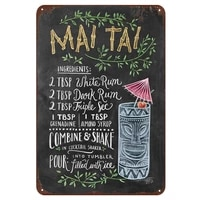 mai tai cocktail metal signs home decor vintage tin signs pub home decorative plates metal sign wall plaques iron painting 12 x