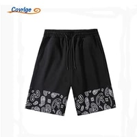 covrlge mens shorts ice silk leisure summer hong kong style cashew flower trend youth comfortable sport clothing mkd103