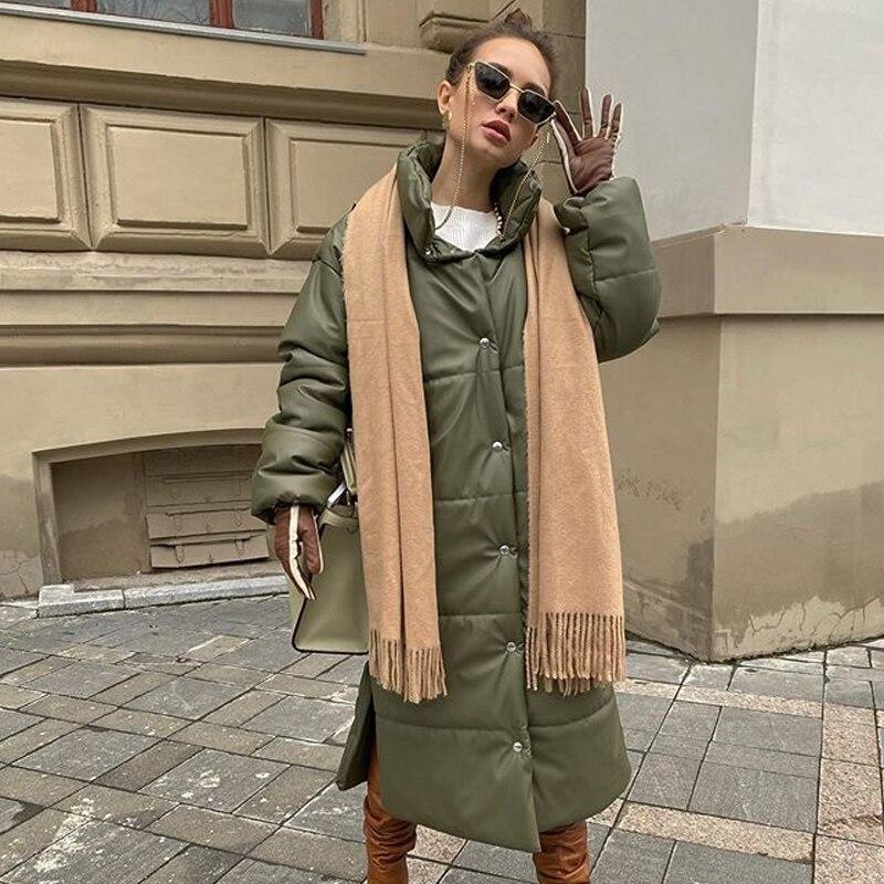 Malina Winter Khaki Winddicht Parkas Frauen Fashion Casual PU Leder Mäntel Frauen Elegante Lange Baumwolle Jacken Weibliche Damen HZ
