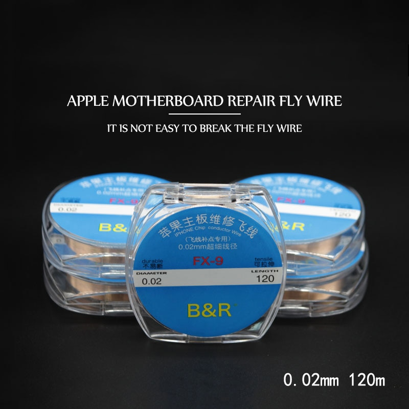 kasi 0 01mm 0 02mm 120m enameled copper wire polyurethane enameled copper line soldering solder for iphone chip conductor wire 0.02mm 120m insulation/uninsulation Copper Line Soldering Solder For iPhone iPad PCB Chip conductor Wire Welding Repair Tool