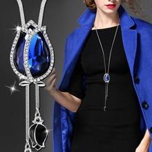 Long Necklaces & Pendants for Women Collier Femme Blue Tulip Statement Colar Maxi Fashion Silver Crystal Jewelry Bijoux 2020
