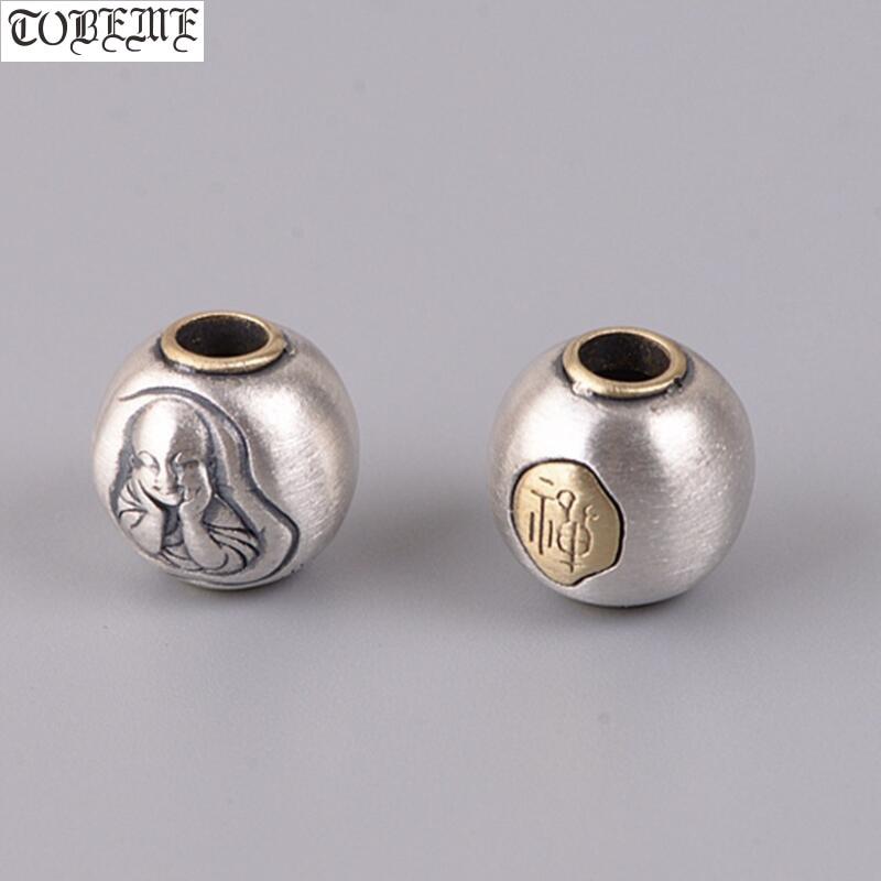 Cuentas tibetanas de plata 925 hechas a mano Vintage 925 cuentas de Buda de plata cuentas de joyería DIY hallazgos de joyería