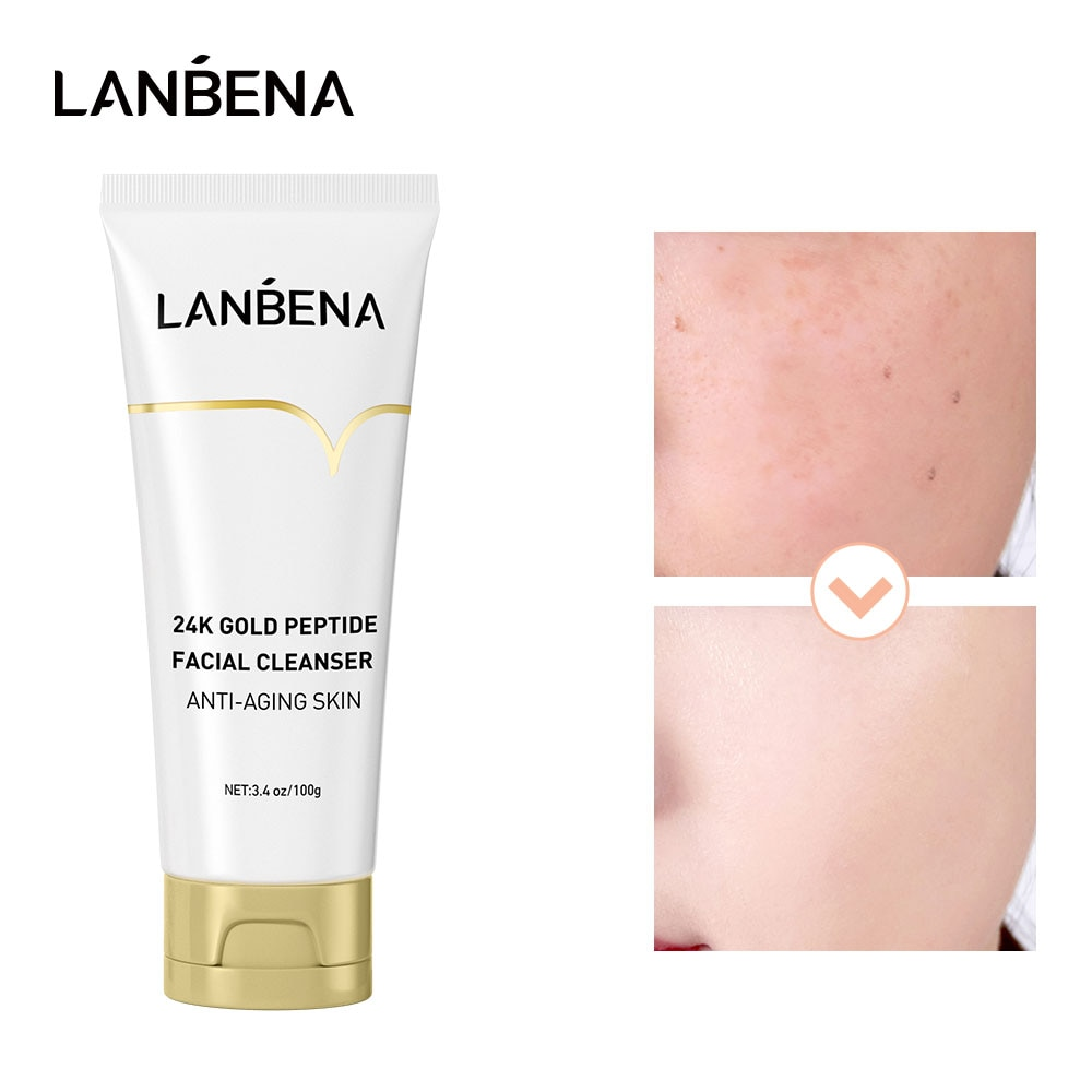 LANBENA 24K Polypeptide Face Cleanser Facial Foam Cleansing Acne Oil Control Blackhead Remover Shrin