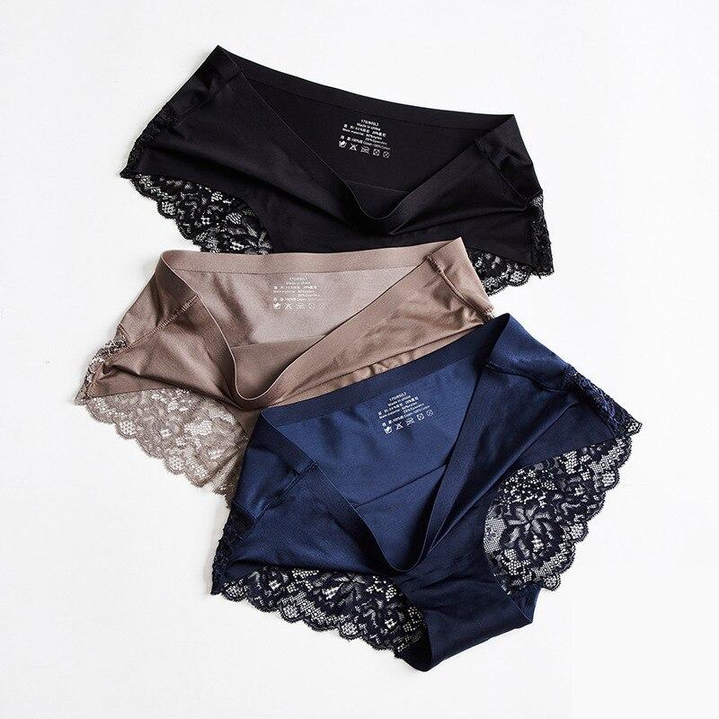 Frauen Sexy Spitze Höschen Nahtlose Unterwäsche Briefs Nylon Seide Mädchen Damen Bikini Baumwolle Gabelung Transparent Dessous unterhosen
