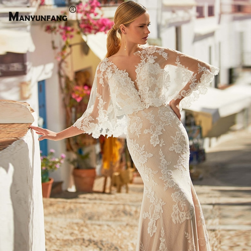 Custom Made V-Neck Embroidery Appliques Tulle Chapel Train Mermaid Wedding Dress High-End Button Back Batwing Sleeve Bridal Gown