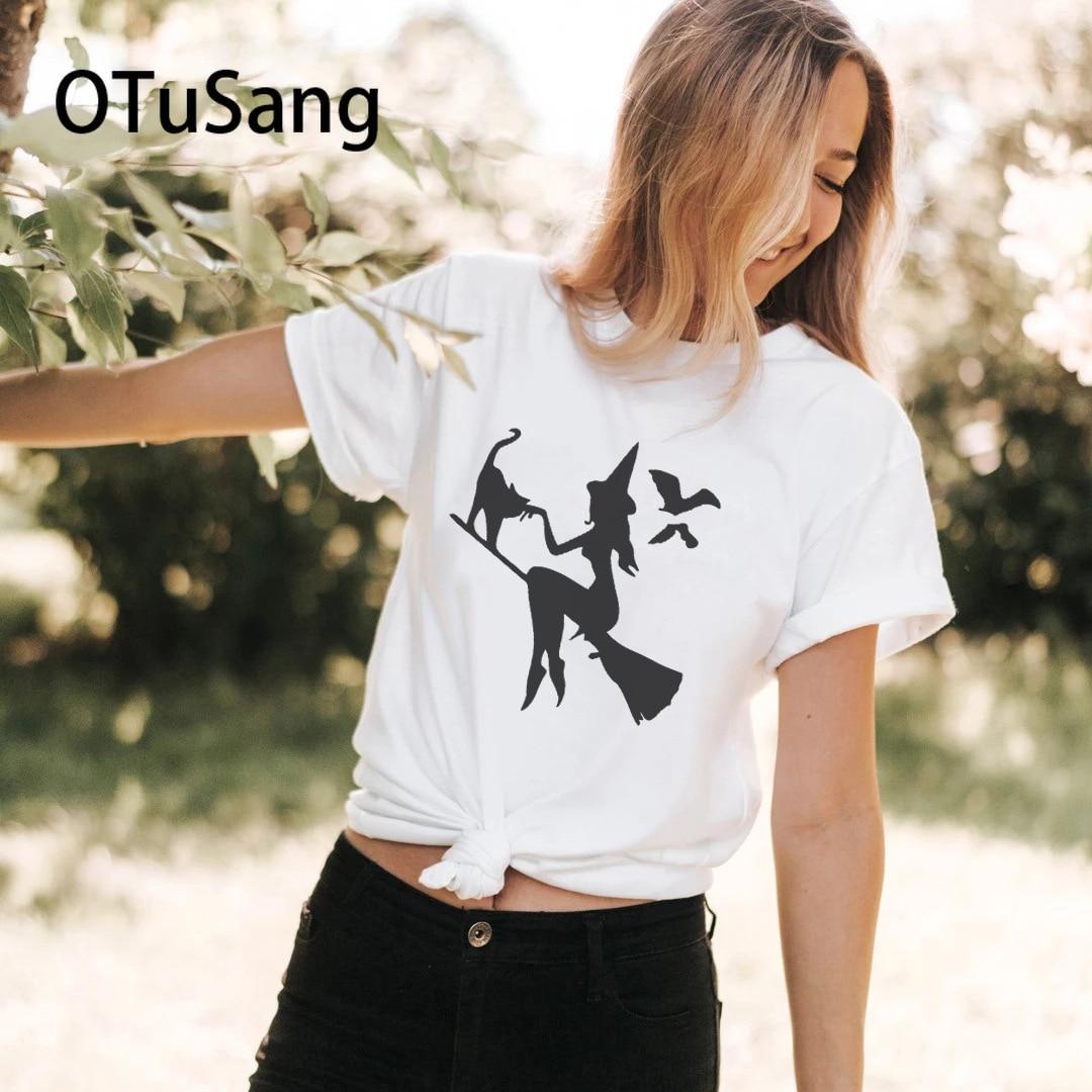 Camiseta de bruja y Catl 2020 para mujer, camiseta informal de algodón Harajuku de manga corta para mujer, camiseta de verano con estampado con dibujo divertido para mujer