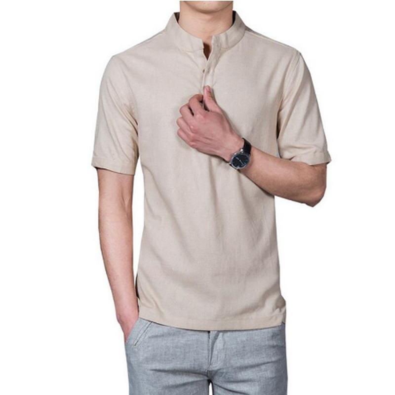 ¡2020! Camiseta con cuello levantado para hombre de manga corta de Color...
