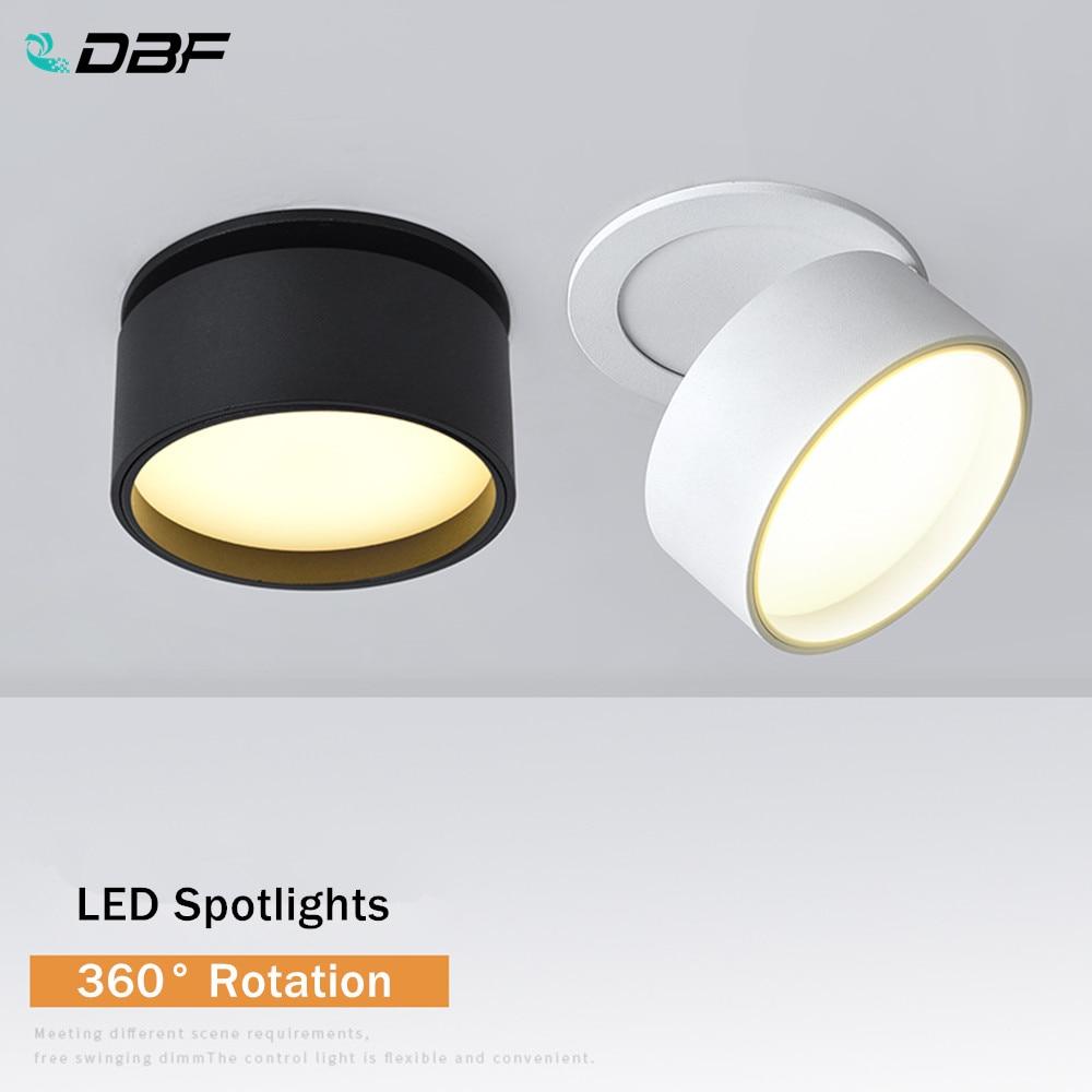 [DBF] ángulo ajustable empotrado Downlight regulable 7W 10W 12W lente esmerilada foco de techo para fotos de fondo AC110V 220V