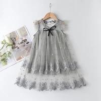 keelorn girls casual summer dresses fashion children embroidery mesh princess vestidos for girl sleeveless kids cute ball gown