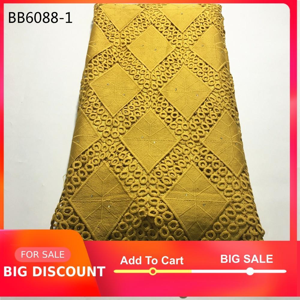 Tela de encaje de cordón africano de color dorado de alta calidad para boda nigeriana de 5 yardas