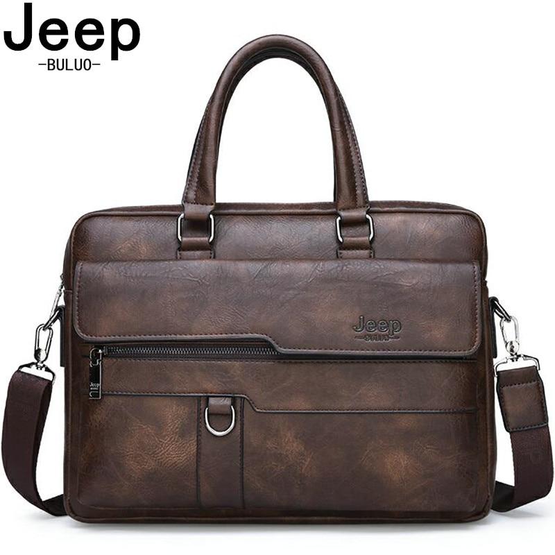 JEEP BULUO-حقيبة أعمال جلدية للرجال ، حقيبة سفر كبيرة السعة لأجهزة الكمبيوتر المحمول مقاس 13.3 بوصة