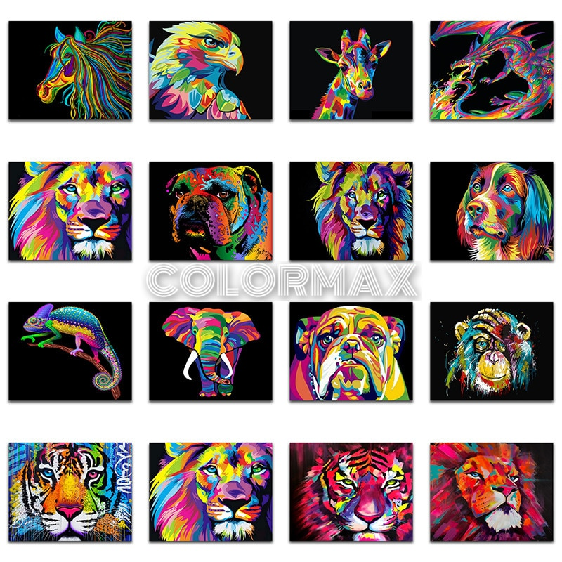 5D DIY Diamond painting cat Cartoon animals tiger lion dog Full Square Diamond embroidery Cross stitch Full Round Diamond mosaic
