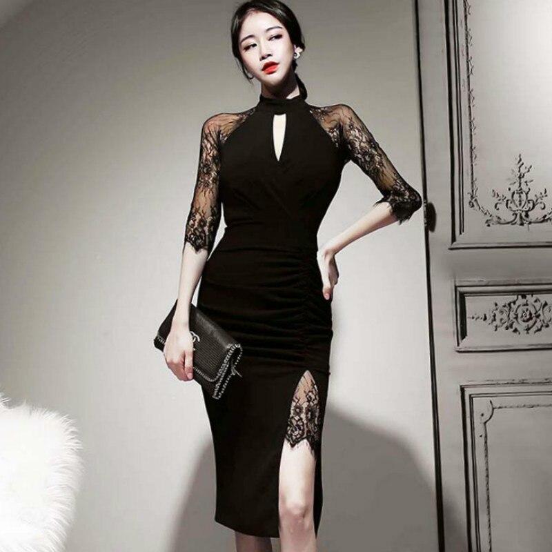 Verano Corea mujeres de tela Sexy ahueca hacia fuera encaje negro Patchwork bodycon vaina Slit Midi Sexy Club vestido de fiesta