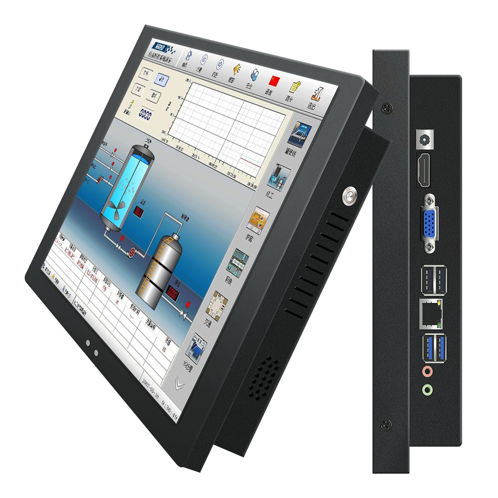 10 12 14 15 17 15.6 18.5 19 21.5 Inch Industrial Computer Monitor PC win7 System Not Touch Screen I3 4G 32G Embedded Fixed