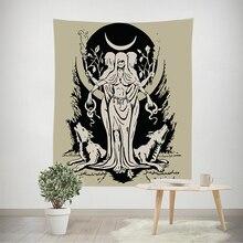 Mond Goddness Wolf Hexerei Wandteppich Hängen Medieval Europa Tarot Divination Tapisserie 180*230cm Mit 6M LED licht