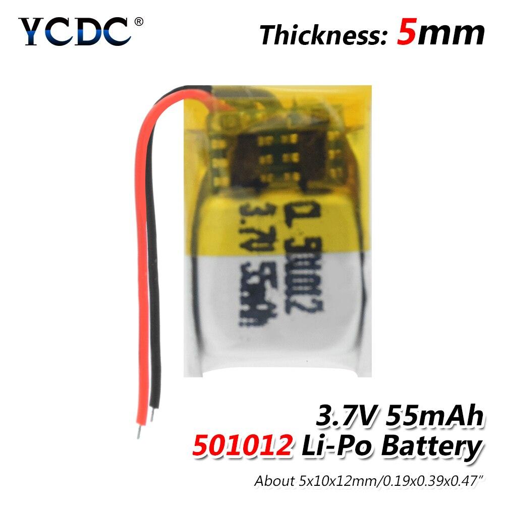 1/2/4 pçs 3.7v 55 mah 501012 li polímero bateria de lítio íon para diy 3d classes mp3 registro caneta bluetooth fone de ouvido alto-falante