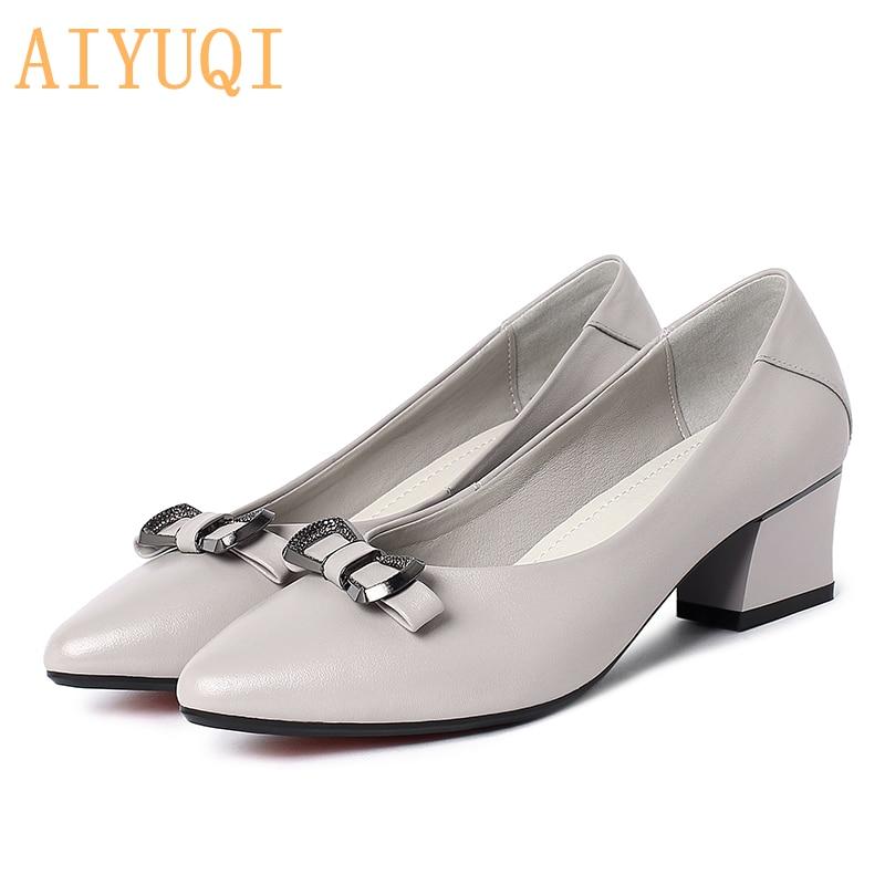 AIYUQI Luxury Shoes Women New 2021 Spring Dress Pointed Professional Fashion Nurse Work