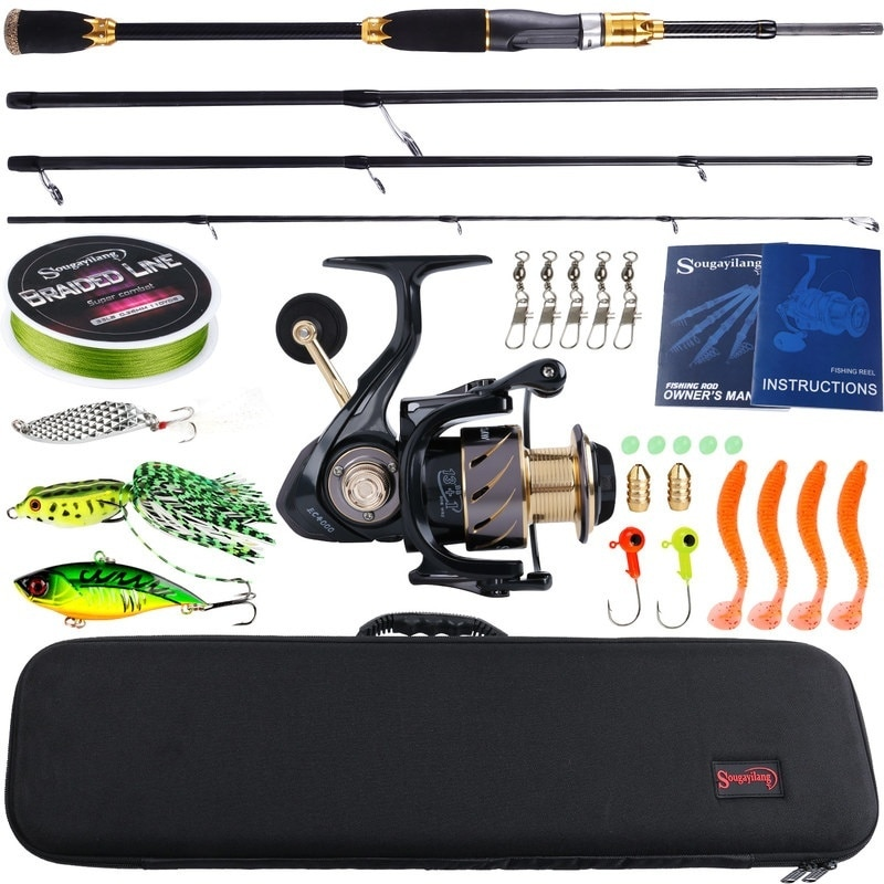 1.8-2.1m Spinning Fishing Combo 4 Section Carbon Fishing Rod with 13 1BB Fishing Reel and Line Lure Bag Full Set enlarge