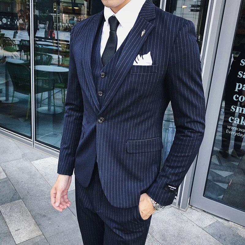 (Jacket+Pants+Vest ) 2021 Stripe Classic Men Slim Suit 3 Pieces Tuxedo Groomsmen Wedding Suits Set Fashion Men Business Blazer