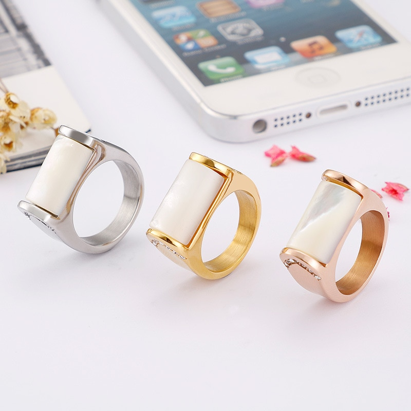 3 Color Titanium Steel Rings Accessories Jewel Shell Ring Fashion Jewelry Engagement Lover Valentine Lovers Couples Party Gifts