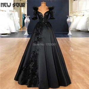 Feathers Appliques Evening Dresses With V Neck Turkish Islamic Prom Dress Robe De Soiree A Line Party Evening Dubai Gowns 2019