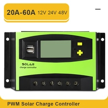 PWM 20A 30A 30A 40A 50A 60A 12V 24V 48V Solar Laderegler mit Dual USB Interface LCD Display Solar PV Ladung Regler
