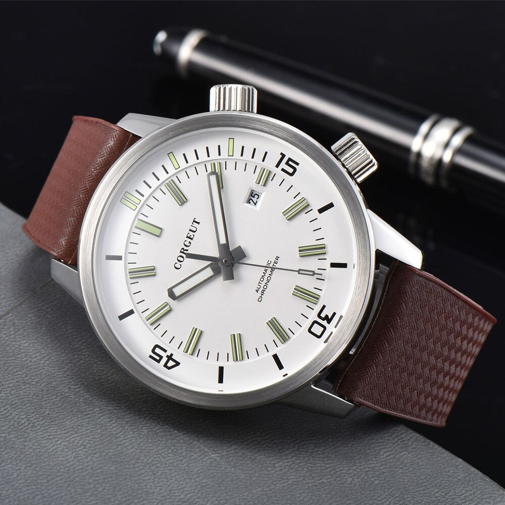 ساعة يد تعمل بالحركة من CORGEUT للرجال ماركة فاخرة أوتوماتيكية ميكانيكية من الياقوت والزجاج بتقويم مضيء حزام من الجلد على مدار الساعة 2033