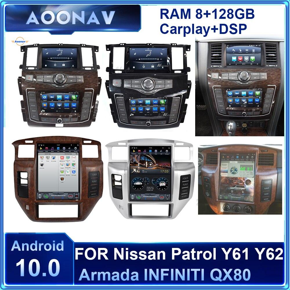 128GB Android 2din radio de coche para Nissan patrulla Y61 Y62 Armada...