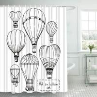 balloon shower curtain with hooks for bathroom hot air balloon waterproof polyester bath shower curtain set home bathroom decor
