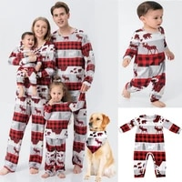 2021 christmas family matching clothes deer print father mother kids baby pajamas set mommy and me xmas pjs outfits dog scarf