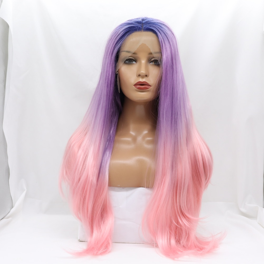 Blue Purple Pink Lace Front Wigs for Women Long Wavy 3T Colorful Synthetic Wig with Dark Roots Cosplay Party Anime Costume
