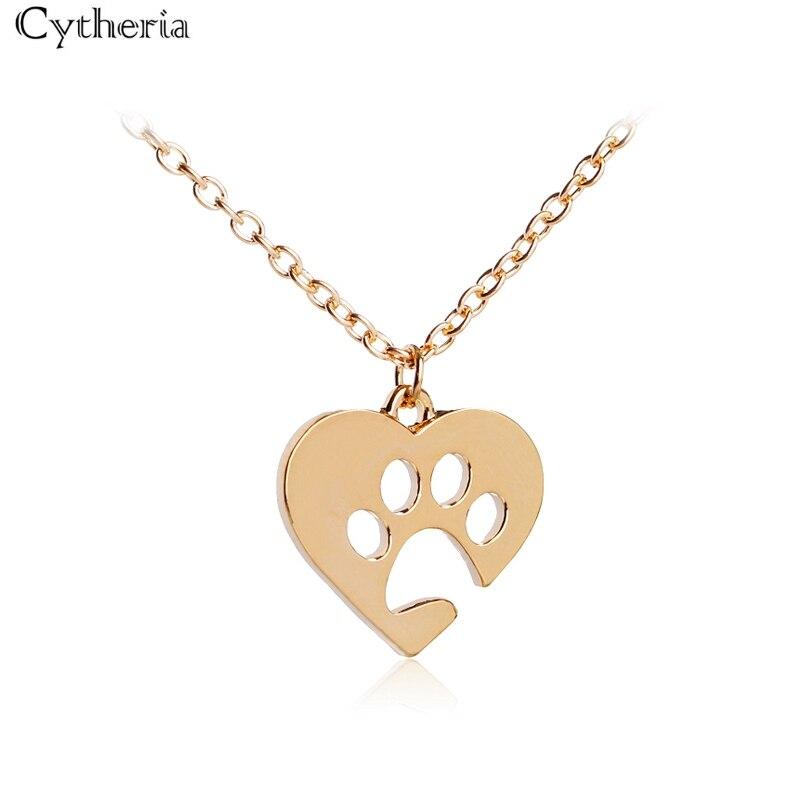 Новинка, популярные простые ожерелья с вырезами в форме сердца, ожерелье с изображением собаки, кошки, любимого человека, полая лапа, милый Принт, ювелирное изделие в виде животных, золотой, серебряный цвет