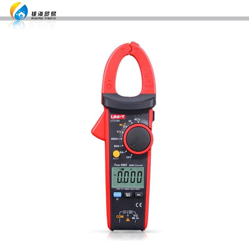 Multímetro de abrazadera Digital UNI-T UT216C 600A valores eficaces verdaderos medidor de pinza Digital, AC/DC/resistencia/capacitancia/frecuencia/temperatura