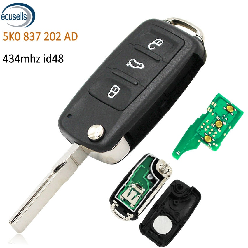 3 botão dobrável flip remoto chave fob 434 mhz com chip id48 para volkswagen tiguan sagitar lavida 5k0837202ad
