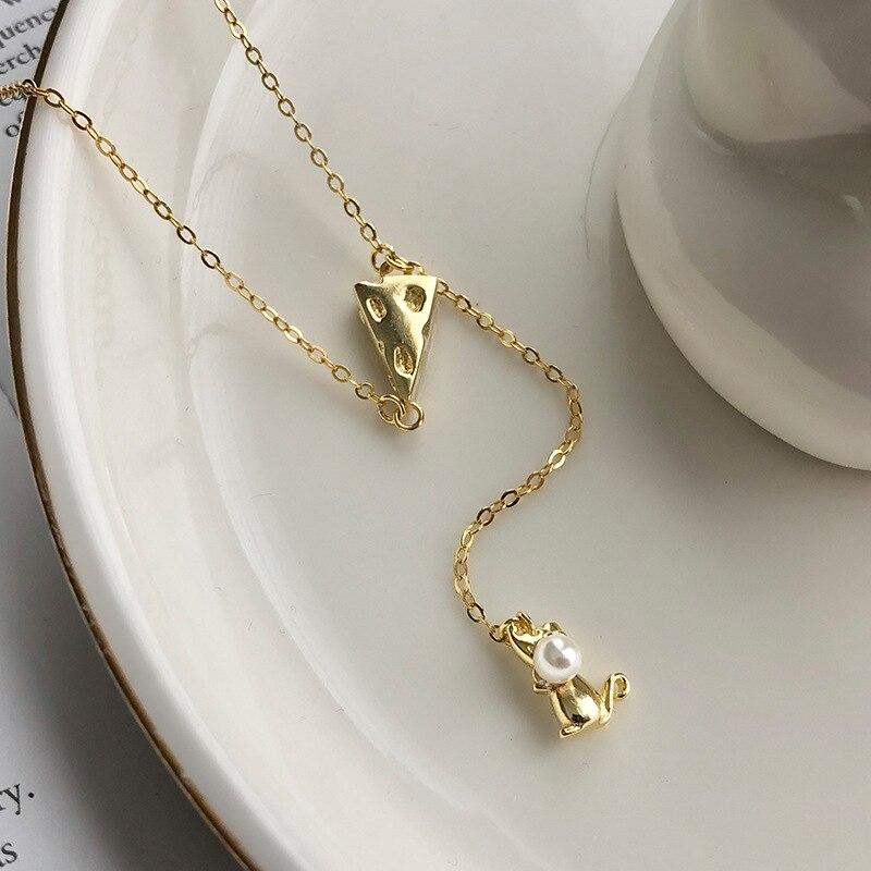 Yuan Fan s925 joyería de plata esterlina dibujos animados lindo ratón queso collar de borlas largas collar Mujer a mapa personalizado