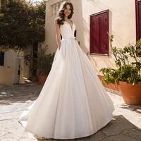 eightree a line satin wedding dresses v neck lace appliques bride dress sleeveless with pocket wedding gowns vestido de noiva