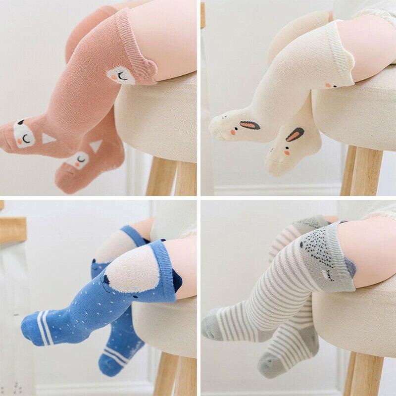 Носки до колена для новорожденных девочек, кружевные оборки с бантом, носки с мультяшными животными, лисицей, медведем, совой, кроликом