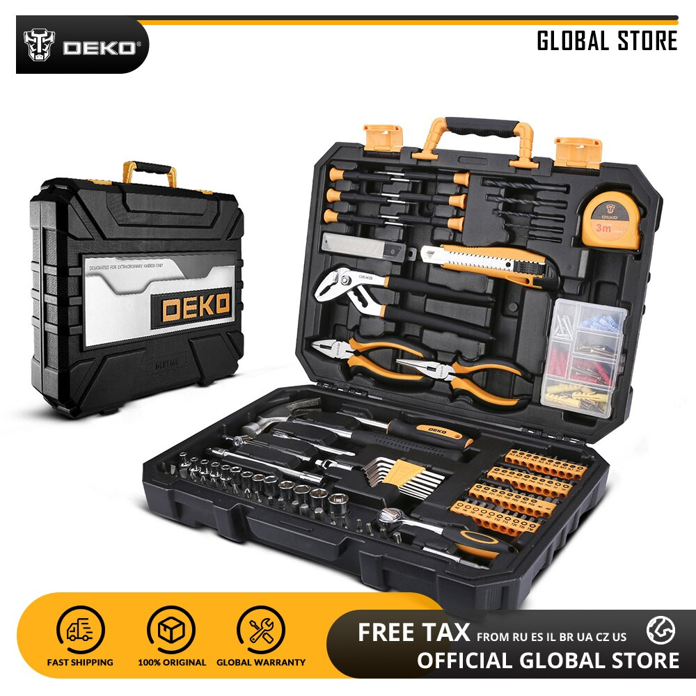DEKO 196 Pcs Professional Car Repair Tool Set Auto Ratchet Spanner Screwdriver Socket Mechanics Tools Kit W/ Blow-Molding Box