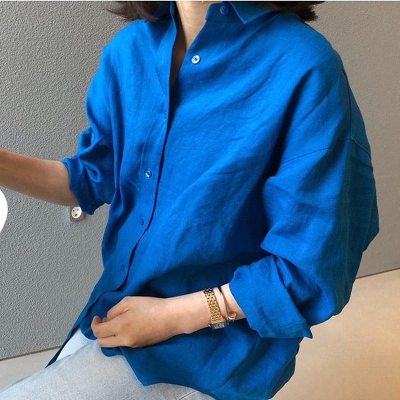 Lanmrem tendência novo tamanho grande linho irregular camisa 2020 primavera verão solto casual coreano cor sólida protetor solar roupas yj155